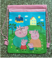 animal breads - 3colors pig Drawstring Bag New Children s Backpack Backpacks Printed School Bags For Girl Non woven Bag