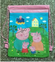 animal paper bags - 3colors pig Drawstring Bag New Children s Backpack Backpacks Printed School Bags For Girl Non woven Bag