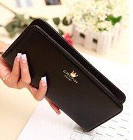 Wholesale 200pcs Fashion Ladies Crown Design Wallet Long Style Solid Color PU Leather Purse FREE DHL