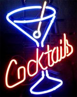 martini glasses - Cocktails Martini Real Glass Neon Sign Beer Bar