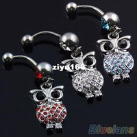 Wholesale Owl Belly Navel Ring Body Jewelry Piercing Red Blue White