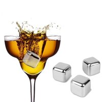 Wholesale High Quality New Stainless Steel Ice Cubes Cool Glacier Rock Neat Drink Freezer gel Wine Whiskey Stones For Great Gift
