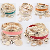 Wholesale 2014 European and American Fashion Pearls Pendant Hollow out multilayer Bracelet Cuff Bangle Hand Chain
