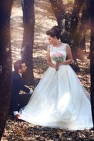 Wholesale Elegant Ivory Wedding Dress Lace Top Illusion Neckline Covered Button Back Tulle Floor Length Arabic Style Bridal Gowns Said Mhamad