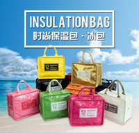 Wholesale candy color lunch bag multi function PU lether thermal bag Lovely insulated lunchbox