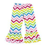 Wholesale EMS Factory Hot sale Girls Chevron Ruffle Pants Zig zag cotton baby ruffled pants girl pant cotton pants for babies W0051