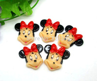 Wholesale Resin Kawaii Mini Mouse Red Bowknot Cabochons Flatback Crafts Scrapbooking Diy x28mm