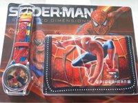 belt buckle purse - Boys Spider Man Marvel Watches Retail Wallet Purse Watch Gift Set Kids Children Party Favors Wrist Watches montre Spiderman
