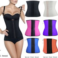 Cheap 7Colors Rubber Corsets 100% Latex Women Steel Boned Corselet Waist Trainer Cincher Underwear Bustiers Slimming Body Shaper S-3XL