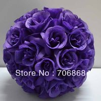 Wholesale Dark Purple Color Artificial silk kissing rose flower ball cm outer diameter wedding Church decoration