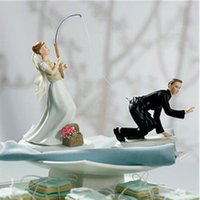 Wholesale 1 Set Resin Fishing Cake Toppers Fishing Bride and Groom Couple Cake Toppers Wedding Decoration