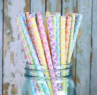 paper straws - Assorted Designs of quot Damask Drinking Paper Straws Diamond Circle Striped chevron Polka Dot factory price