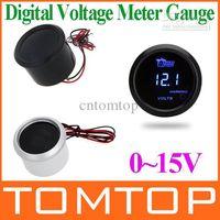 Wholesale Digital Voltage Meter Gauge for Auto Car mm in LCD V Warning Light Black sliver K974B