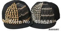 Cheap Free Shipping Hip hop rivet safety pins ball Hat Spikes Spiky Studded flat visor Cap party dance hat