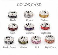 Wholesale 8mm Sterling Silver Rhinestone Rondelle Spacer Bead Crystal Rondelle Spacer Bead with Various Colors Zicorn Stones