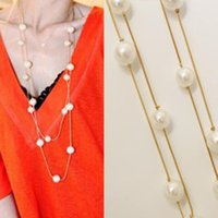 Wholesale Stylish Fashion Womens Jewelry K Yellow Gold Plated Double Rows cm Long Pearl Necklace Christmas Best Gift for Party Wedding