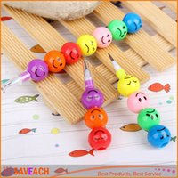 Wholesale Smiley Cartoon colored pencil Rainbow Crayon lead pencil Funny Faces pencils as Children drawing techniques