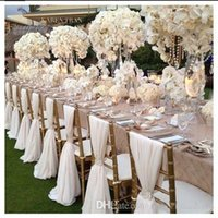 Wholesale Wedding Chair Sash Romantic Chiffon Wedding Party Anniversary Chair Sash Party Banquet Decorations Pieces Set