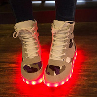 Cheap High quality 2015 European High Top Sneakers Fashion USB LED Camouflage Light Shoes Luminous shoes Girls Men Couples Footwear
