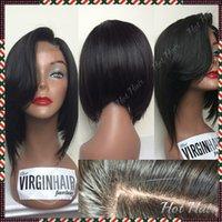 2015 reine cheveux produits glueless brésilien cheveux vierges courts cheveux humains perruques bob soie top pleine dentelle perruque avec bangs pour les hommes noirs