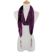 Wholesale different colors lady hijab with jewelry scarf and shawl long scarf jewelry