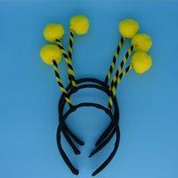 al por mayor bandas para la cabeza de color amarillo para los niños-Yellow Bee Ant Bug Alien antena cabeza de bola Headband para los niños adultos Children'Day Navidad accesorios de pelo de la boda