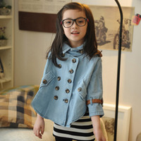 bats factory direct - Santa Christmas Babies Clothes Double breasted Bat Shirt Denim Jacket Autumn Coat Children Clothing For Girls Poncho Factory Direct Free UPS