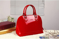 red patent leather handbag - Fashion red black purple blue patent leather shell handbags women