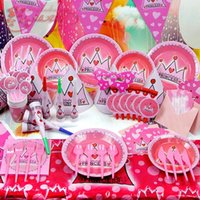 dinner plate - 15kind sets Princess Crown dinner plates party decorated props baby birthday suit luxury packages Children s theme packages