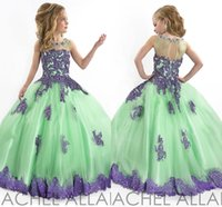 Wholesale Toddler Girl s Pageant Flower Girl Dresses Formal With Sheer Crystals Wedding Ball Gowns Green Purple Lace For Girls Crystal Tulle
