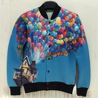 baseball balloons - Mikeal New Arrivals men women d jacket uniform Memory Foam baseball jacket funny print house balloons autumn coat