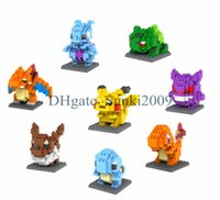 Wholesale 2015 New Poke Figures Model Toys Pikachu GBA Charmander Bulbasaur Squirtle emerald Eevee Child Christmas gift Anime Building Blocks