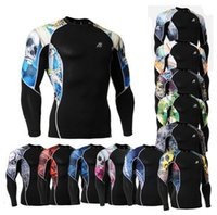 Wholesale C2L Technical Compression Shirts W Graphic Double Sleeves amp Underarm MMA Shirts Bodybuilding Workout GYM Tops Shirts