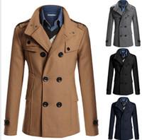 Men s woolen coat Preços-Queda-lapela Trench Coat casaco de lã preto Homens Overcoat de lã double-breasted Moda Mens Brasão Pea morna do inverno Casacos estilo britânico