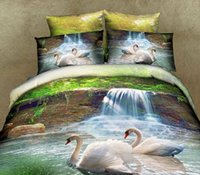 Cheap 100% Organic Cotton 3D Swan printed with Queen King and Super King size bedding set bed Linen and comforter Set 6 pieces