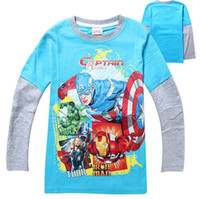 Wholesale Boys Captain America Long Sleeve Tshirts Children The Avengers Autumn Winter Clothing Cartoon sweater tops for Boy Tshirt pc
