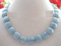 aquamarine necklace - 18 quot Natural mm Blue Coin Aquamarine Necklace