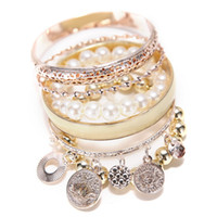 Wholesale Vintage Womens Charm Bracelets Pearl hollow out multilayer bracelet friendship bracelet Fashion fancy dress party jewelry