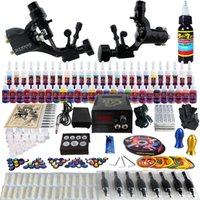 2 Guns rotary tattoo kit - Complete Tattoo Kit Pro Rotary Machine Guns Inks Power Supply Needle Grips TK255