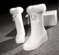 Wholesale Girls Fashion Winter Boots Flat heel Athletic Snow Boots Black Boots White Boots with fur Lacing Boots American Size Euro Boot