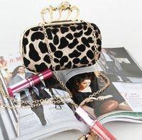 Clutch Bags pocket parts - Leopard Print Evening Bags New Fashion Designer Diamond Finger Ring Shoulder Clutch Luxury Clutch Handbag for Wedding Part