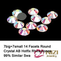 Synthetic (lab created) better than good - Top Quality Round Crystal AB Hotfix Rhinestones Flatback Iron On Strass Facets DIY Glass Rhinestones Better Than DMC Rhinestones