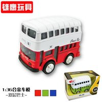 antique iron model car - 2016hot selling Antique retro finishing metal car bus model iron accessories Double deck bus best gift for child