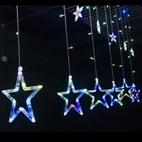 Wholesale TMC Stars Multi color LED Window Curtain Fairy String Lights Ideal For Christmas Party Wedding Festival Decoration