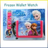 Wholesale Frozen Anna Elsa Sets Watch and Wallet in Purse Kids Fashion Quartz Cartoon Candy Cute Lovely Boy Girl Children Watch