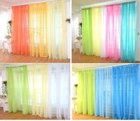 Wholesale Sheer Rainbow Curtains Valance Gauze Tulle Decor Curtains for Living Room Bedroom Kitchen Window treatments Blind ikea drapes