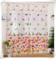Wholesale 1 Piece Butterfly Print Sheer Curtain Panel Window Balcony Tulle Room Divider Colorful order lt no tracking