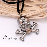 Wholesale Men s L Stainless Steel Austrian Crystal Skull Pendant Nylon Rope Chain Men Necklaces Jewelry