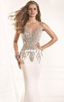 Wholesale 2015 Shiny Sheer Scoop Neckline Beading Tarik Ediz Prom Dresses Mermaid Evening Gown Backless Floor Length Prom Gowns