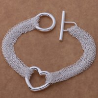 Wholesale with tracking number Top Sale Silver Bracelet Multi Links Chain Heart Pendant Bracelet Silver Jewelry cheap